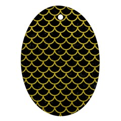 Scales1 Black Marble & Yellow Leather (r) Ornament (oval) by trendistuff