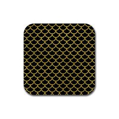 Scales1 Black Marble & Yellow Leather (r) Rubber Square Coaster (4 Pack)  by trendistuff