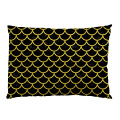 Scales1 Black Marble & Yellow Leather (r) Pillow Case by trendistuff