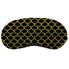Scales1 Black Marble & Yellow Leather (r) Sleeping Masks by trendistuff