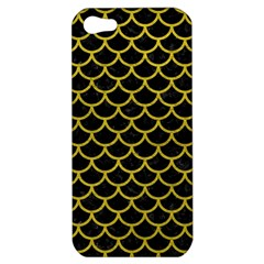 Scales1 Black Marble & Yellow Leather (r) Apple Iphone 5 Hardshell Case by trendistuff