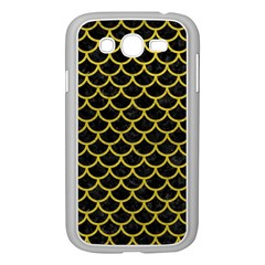 Scales1 Black Marble & Yellow Leather (r) Samsung Galaxy Grand Duos I9082 Case (white) by trendistuff