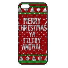 Ugly Christmas Sweater Apple Iphone 5 Seamless Case (black) by Valentinaart