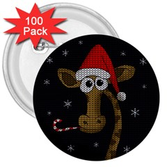 Christmas Giraffe  3  Buttons (100 Pack)  by Valentinaart