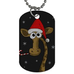 Christmas Giraffe  Dog Tag (one Side) by Valentinaart