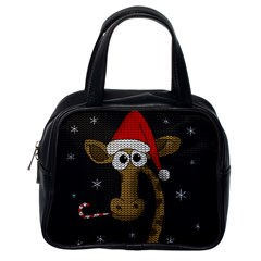 Christmas Giraffe  Classic Handbags (one Side) by Valentinaart
