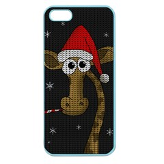 Christmas Giraffe  Apple Seamless Iphone 5 Case (color) by Valentinaart