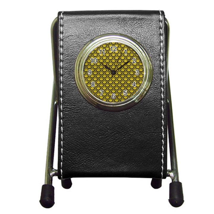 SCALES2 BLACK MARBLE & YELLOW LEATHER Pen Holder Desk Clocks