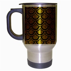 Scales2 Black Marble & Yellow Leather Travel Mug (silver Gray) by trendistuff