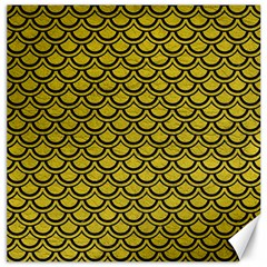 Scales2 Black Marble & Yellow Leather Canvas 20  X 20   by trendistuff