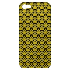 Scales2 Black Marble & Yellow Leather Apple Iphone 5 Hardshell Case by trendistuff