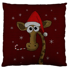 Christmas Giraffe  Large Flano Cushion Case (one Side) by Valentinaart