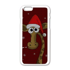 Christmas Giraffe  Apple Iphone 6/6s White Enamel Case by Valentinaart