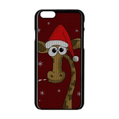 Christmas Giraffe  Apple Iphone 6/6s Black Enamel Case by Valentinaart