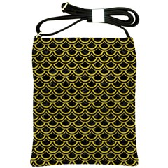 Scales2 Black Marble & Yellow Leather (r) Shoulder Sling Bags by trendistuff