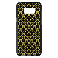 Scales2 Black Marble & Yellow Leather (r) Samsung Galaxy S8 Plus Black Seamless Case by trendistuff