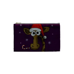 Christmas Giraffe  Cosmetic Bag (small)  by Valentinaart
