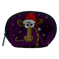 Christmas Giraffe  Accessory Pouches (medium)  by Valentinaart