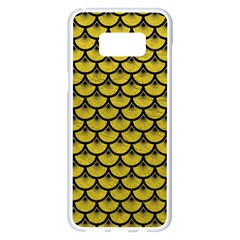 Scales3 Black Marble & Yellow Leather Samsung Galaxy S8 Plus White Seamless Case by trendistuff