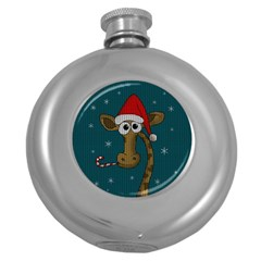 Christmas Giraffe  Round Hip Flask (5 Oz)