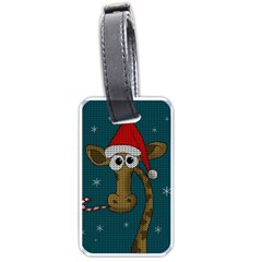 Christmas Giraffe  Luggage Tags (two Sides) by Valentinaart