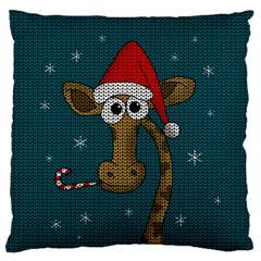 Christmas Giraffe  Large Flano Cushion Case (two Sides) by Valentinaart