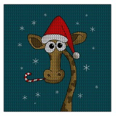 Christmas Giraffe  Large Satin Scarf (square) by Valentinaart