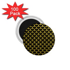 Scales3 Black Marble & Yellow Leather (r) 1 75  Magnets (100 Pack)  by trendistuff