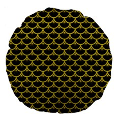Scales3 Black Marble & Yellow Leather (r) Large 18  Premium Flano Round Cushions by trendistuff