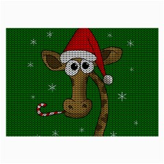 Christmas Giraffe  Large Glasses Cloth (2 Side) by Valentinaart