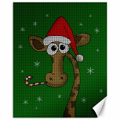 Christmas Giraffe  Canvas 11  X 14   by Valentinaart