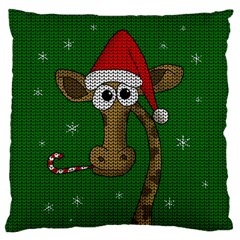 Christmas Giraffe  Large Cushion Case (one Side) by Valentinaart