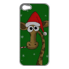 Christmas Giraffe  Apple Iphone 5 Case (silver) by Valentinaart
