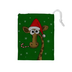 Christmas Giraffe  Drawstring Pouches (medium)  by Valentinaart