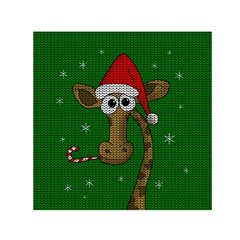 Christmas Giraffe  Small Satin Scarf (square) by Valentinaart