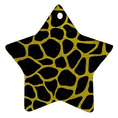 Skin1 Black Marble & Yellow Leather Star Ornament (two Sides) by trendistuff