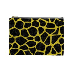 Skin1 Black Marble & Yellow Leather Cosmetic Bag (large)  by trendistuff