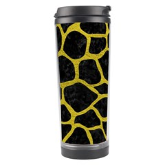 Skin1 Black Marble & Yellow Leather Travel Tumbler by trendistuff