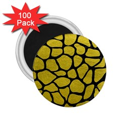 Skin1 Black Marble & Yellow Leather (r) 2 25  Magnets (100 Pack)  by trendistuff