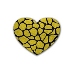 Skin1 Black Marble & Yellow Leather (r) Rubber Coaster (heart)  by trendistuff