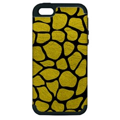 Skin1 Black Marble & Yellow Leather (r) Apple Iphone 5 Hardshell Case (pc+silicone) by trendistuff