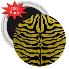 Skin2 Black Marble & Yellow Leather 3  Magnets (100 Pack) by trendistuff