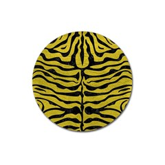 Skin2 Black Marble & Yellow Leather Magnet 3  (round) by trendistuff