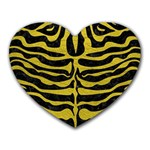 SKIN2 BLACK MARBLE & YELLOW LEATHER (R) Heart Mousepads Front
