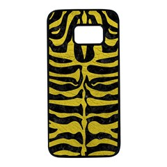 Skin2 Black Marble & Yellow Leather (r) Samsung Galaxy S7 Black Seamless Case by trendistuff