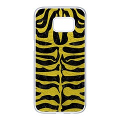 Skin2 Black Marble & Yellow Leather (r) Samsung Galaxy S7 Edge White Seamless Case by trendistuff