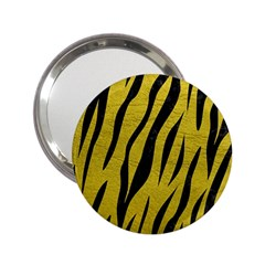 Skin3 Black Marble & Yellow Leather 2 25  Handbag Mirrors by trendistuff