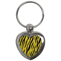 Skin3 Black Marble & Yellow Leather Key Chains (heart)  by trendistuff