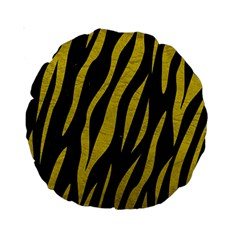 Skin3 Black Marble & Yellow Leather (r) Standard 15  Premium Round Cushions by trendistuff