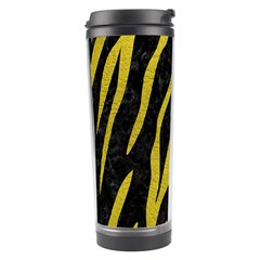 Skin3 Black Marble & Yellow Leather (r) Travel Tumbler by trendistuff